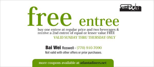 Bai Wei Asian Restaurant Coupons