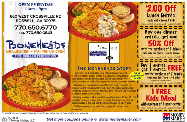 Boneheads restaurant coupons