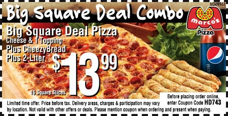 "Save 25% Off pizza and cheesy bread with Marcos Pizza Coupons or Promo Code available at cansechesma.cf Marco's Pizza founder Pasquale ""Pat"" Giammarco moved to the U.S. from Italy when he was nine years old and grew up working in his family's pizzeria."