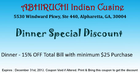Abhiruchi indian restaurant coupons abhiruchi indian for Abhiruchi indian cuisine alpharetta