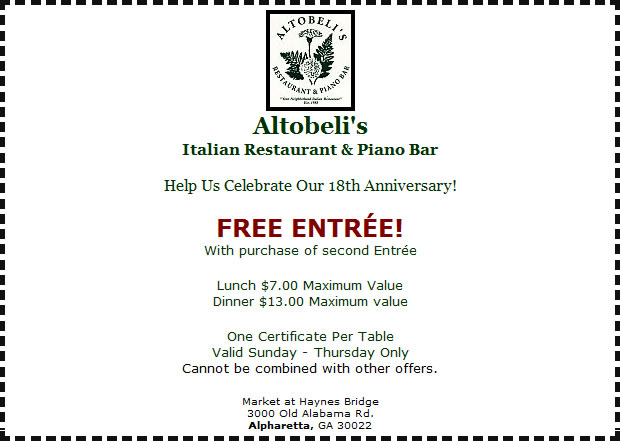 Altobeli's Italian Restaurant and Piano Bar Coupons
