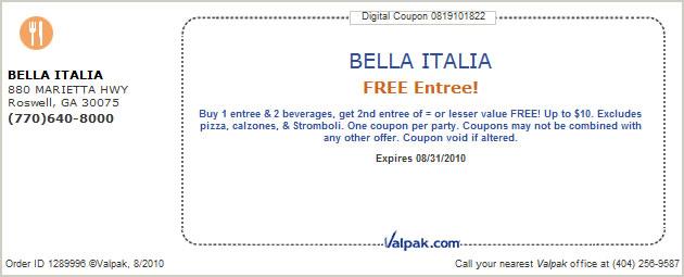Bella Italia Cuisine Coupons