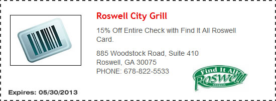 Roswell City Grill Restaurant Coupons