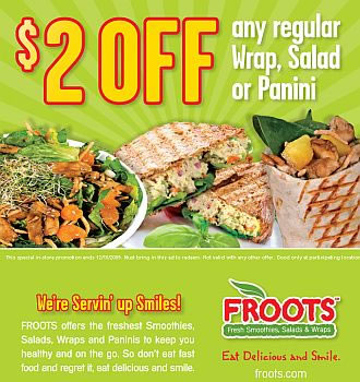 Froots Smoothies Salads & Wraps Restaurant Coupons