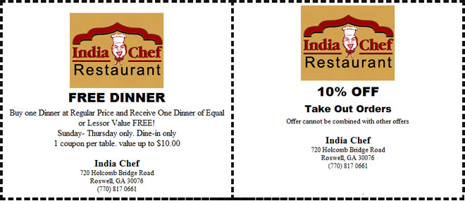 India Chef Finest Authentic Indian Cuisine Coupons