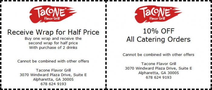 Tacone Flavor Grill Restaurant Coupons