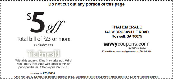 Thai Emerald Coupons Thai Emerald Restaurant http – Coupon Disclaimers